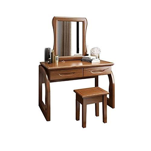 ZAT Komplett Real Wood Vanity Set Schminktisch mit Spiegel Organizer Hocker Make-up Schreibtisch 2 Schubladen Einfache Montage Beauty-Station for Schlafzimmer, Walnuss Farbe