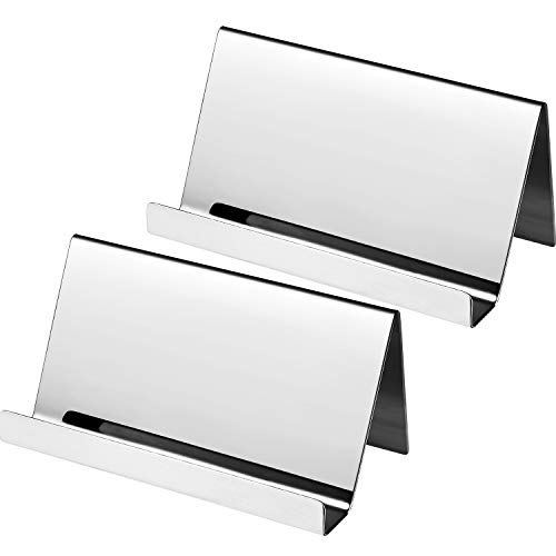 Maxdot 2 Pack Stainless Steel Business Cards Holders Desktop Card Display Business Card Rack Organizer (Silver)
