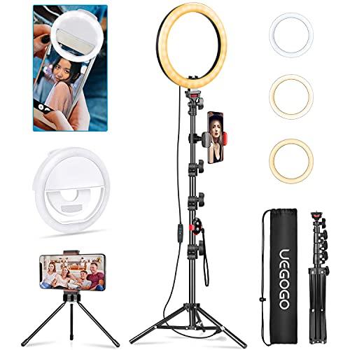 UEGOGO Ringlicht mit Stativ, 10.2 Zoll Selfie Ringleuchte mit Smartphone Selfie Licht, Ringlicht mit 3 Farbe &11 Helligkeitsstufen für Tik Tok, YouTube,...