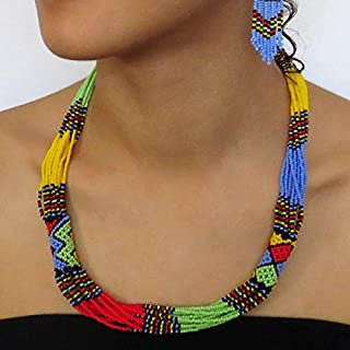 African Zulu beaded short necklace – Multicolour with light blue - Gift for her