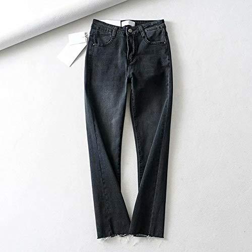 KXDNZK ZKKXDN Vrouw Vintage Enkel-lengte Jeans Lente Herfst Flare Denim Broek Dames Vrouwelijke Hoge Taille Blauw Zwarte Jeans