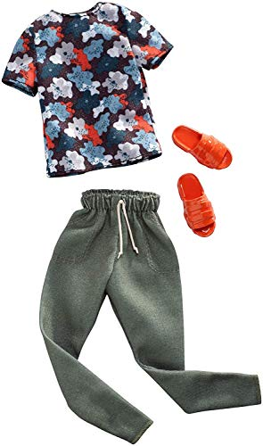 Barbie Clothes: 1 Outfit for Ken Doll Includes Floral Shirt, Jogger Pants & Sandals, Gift for 3 to 8 Year Olds -  Mattel, FXJ37