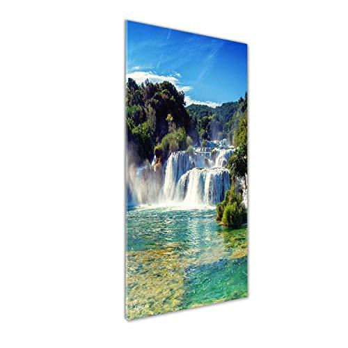 Tulup Glas-Bild Wandbild aus Glas - Wandkunst - Wandbild hinter gehärtetem Sicherheitsglas - Dekorative Wand für Küche & Wohnzimmer 50 x125 - Landschaften - Wasserfall Krka - Grün