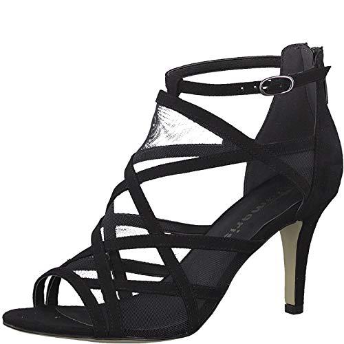 Tamaris 1-1-28003-22 Damen Sandaletten,Sandaletten,Sommerschuhe,offene Absatzschuhe,hoher Absatz,feminin,Black,39 EU