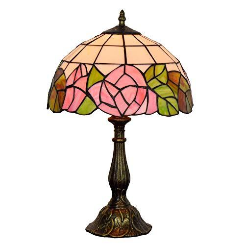 Diseño Personalizado Europea Rose dormitorio Mesilla de noche de la vendimia de la lámpara Tiffany Glass Art Shop Restaurante Lámpara americana Tabla (12' Ancho 19' Altura) estilo Tiffany cubierta Cro