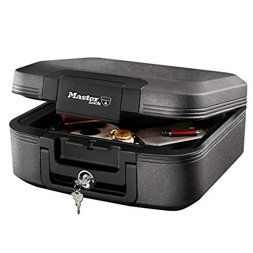 Master Lock LCHW20101 Caja Fuerte Portatil Ignifuga y Impermeable con Llave Medium Adecuada para A4 Documentos, Dispositivos Electrónicos, Soporte Multimedia, Pequeños