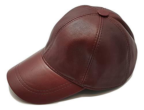 Neu Herren Damen Leder Baseball Caps Hut Hiphop-Mütze Echtes weiches Leder Beiläufig Draussen Klettverschluss Einstellbar (Bordeaux)