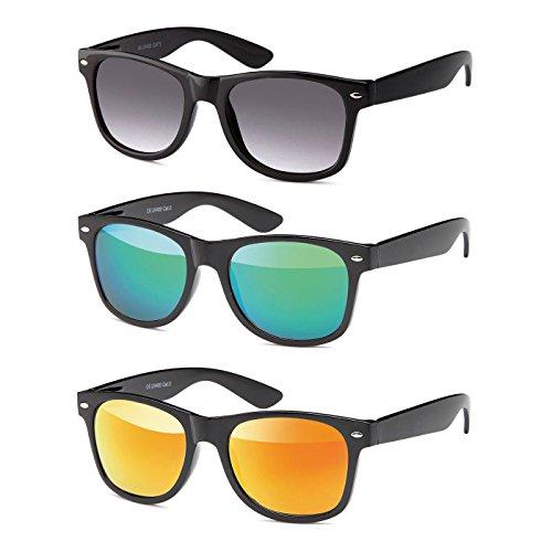 MOKIES Unisex Sonnenbrillen - UV400 Filterkategorie 3 CE Kennzeichnung - Polycarbonat - mit Federscharnier - A-SET Grau verlaufend, Grün, Rot