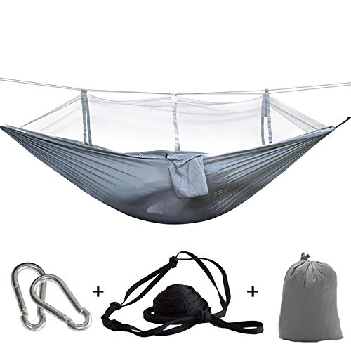 XIANGEN Camping Hammocks, Portable Single and Double Hammocks with Nets Portable Mosquito Net Hammock Tents with Adjustable Straps and Carabiner