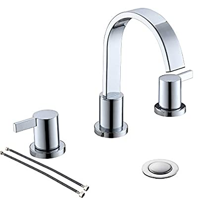 Chrome 8 inch 2 Handle Waterfall Widespread Bathroom Sink Faucet with Metal Pop-Up Drain by PHIESTINA, WF40-1-C