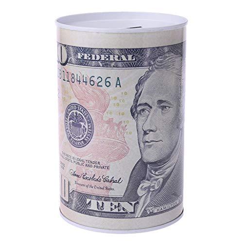 Karrychen Caja de Dinero de Ahorro de Hucha de Cilindro de Metal de dólar Euro Creativo decoración del hogar-Blanco