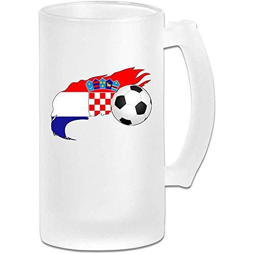 Voetbal met Kroatische vlag Frosted Glass Stein Beer Mok, Pub Mok, Drank Mok, Gift voor Bier Drinker, 500Ml (16.9Oz)