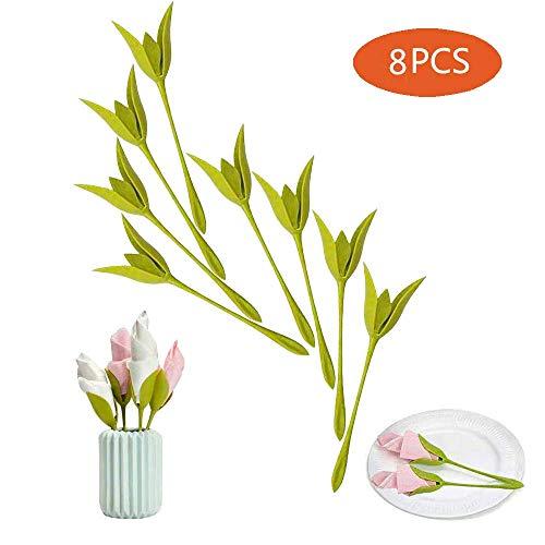 Servethouders voor tafels, set van 8 groene gesmolten plastic twist bloemknoppen servettenhouders plus witte servetten voor het maken van originele tafelarrangementen A
