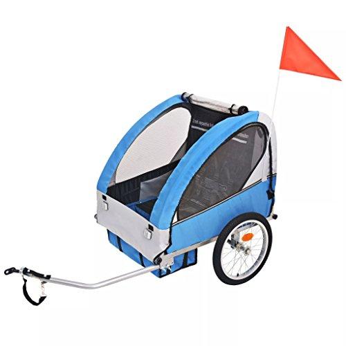 yorten Kinder Fahrradanhänger Grau und Blau 30 kg 137 x 77 x 87 cm (L x B x H) mit Allwetter-Verdeck und Insektenschutz Zusammenklappbar