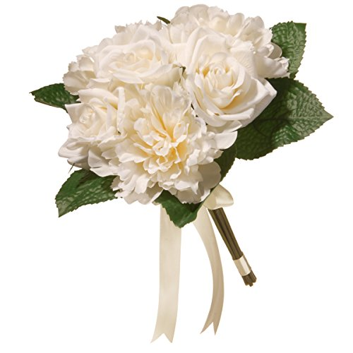 National Tree 12.2 Inches Mixed Cream Rose and Peony Bouquet