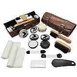 Tralight 16-PC Shoe Polish Kit - Shoe Care - Leather Shoe Shine Travel Kit - Neutral & Black Shoe Wax, Polishing Brushes, Shoe Shine Sponges, Buffing Cloths, Shoe Horn, Shoelaces, PU Leather Bag