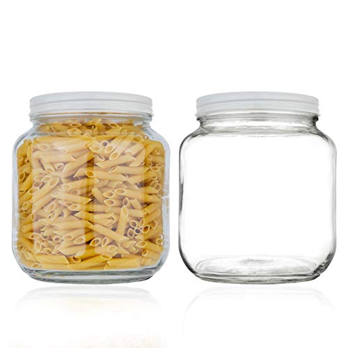Half Gallon Mason Jar Wide Mouth with Airtight Metal Lid - Safe for Fermenting Kombucha Kefir - Curing Pickling, Storing and Canning - BPA-Free Dishwasher Safe by kitchentoolz (White Lid, 2)