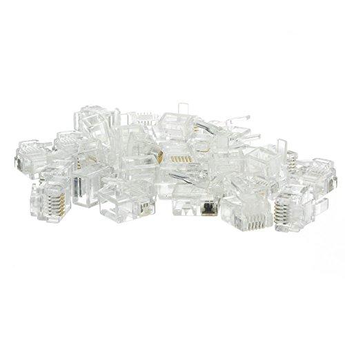 Phone / Data RJ12 Crimp Connectors for Flat Cable, 6P6C, 50 Pieces