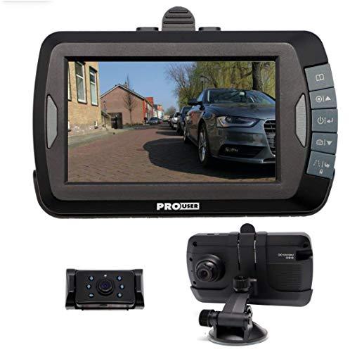 Pro User digitales 2-in-1 Rückfahrkamerasystem DRC4310DC Dashcam: kabelloses Funk- Rückfahrkamera-Set mit LCD-Display (4,3'' Monitor) und eingebauter Dashcam für Video und Fotoaufnahmen