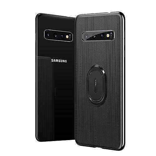 Funda XTbabe compatible con Samsung Galaxy S10+ Plus, ultrafina, de TPU, con anillo giratorio de 360 ° y soporte con imán en la parte trasera para Galaxy S10+ Plus Case Negro 42