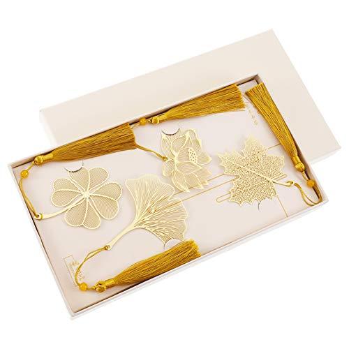 AUXSOUL 4 Stück Goldene Metall Lesezeichen, Metall Leaf Lesezeichen Metall Quaste Dekoration Lesezeichen für Leser und Kinder