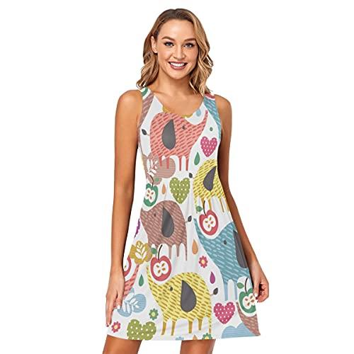 Vestido sin mangas para mujer, diseño de elefantes de dibujos animados para verano, sexy, sin mangas, talla S
