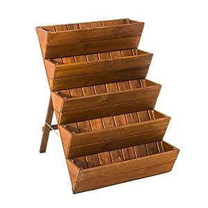 Pflanztreppe 5 Fächer Holz ca. B66 x L73 x H94 cm braun
