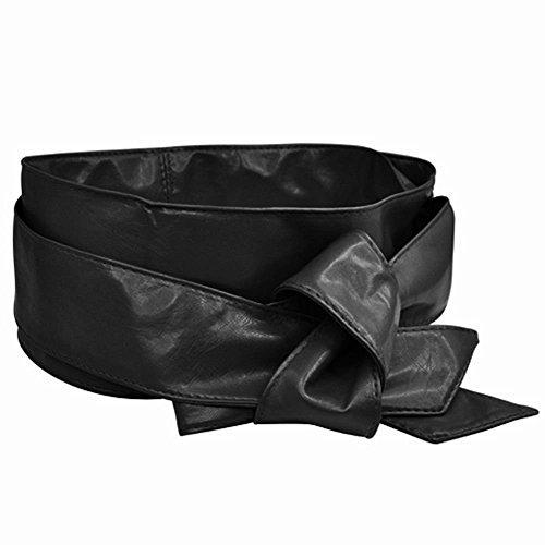 ULOOIE Damen Taillengürtel aus PU-Leder mit Schleife, Wickelkorsett, Cinch Tie Wide Taille Belt Band (schwarz)