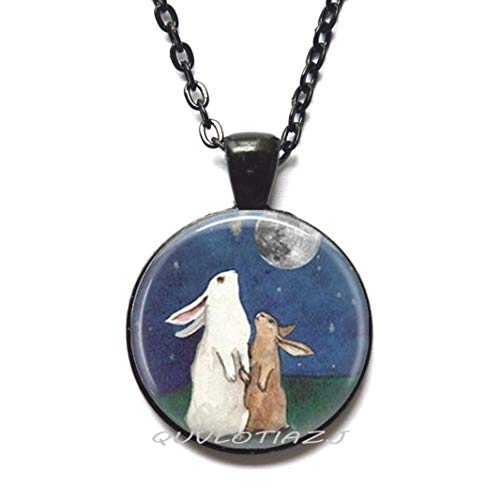 QUVLOTIAZJ Rabbit Necklace Full Moon Jewelry I Love You to The Moon Back Art Pendant,Best Friend Necklace,Simple Necklace,Everyday Necklace,Gorgeous Necklace,ot165 (A3)