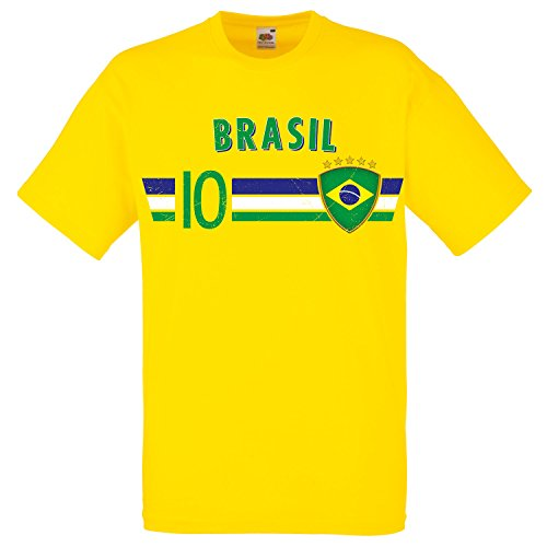 Fußball WM T-Shirt Fan Artikel Nummer 10 - Weltmeisterschaft 2018 - Länder Trikot Jersey Herren Damen Kinder Brasilien Brasil Brazil S