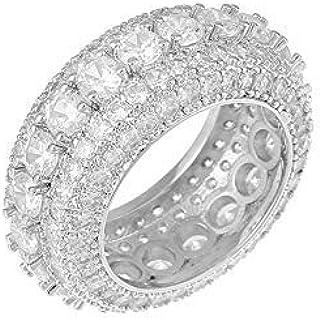 Gioielli Moca Ghiacciati Cinque File di Eleganti Anelli di Zircone Anello Placcato in Oro 18k con Diamante Simulato CZ per...