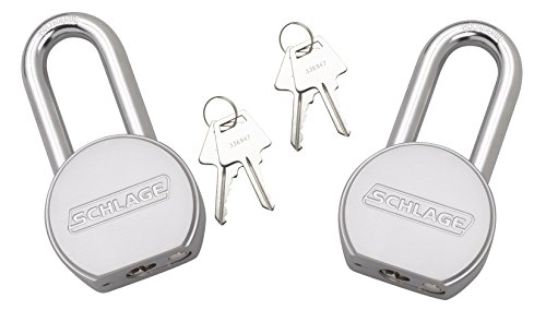 Schlage 994831 Solid Steel Round Padlock, 63.5mm, 2.5-Inch Shackle, 2-Count Keyed Alike