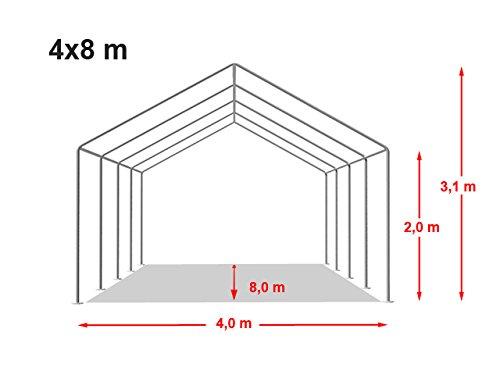 TOOLPORT Party-Zelt Festzelt 4x8 m Garten-Pavillon -Zelt ca. 500g/m² PVC Plane in weiß Wasserdicht - 7