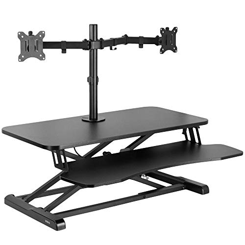 VIVO Height Adjustable 32 inch Standing Desk Converter with Dual 13 to 30 inch Monitor Stand, Sit...