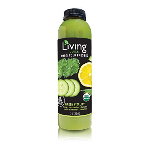 O2 Living Juice Green Vitality Organic Cold-Pressed, No Sugar or Water Added, Made with Kale, Cucumber, Lemon, Celery, Fennel, and...
