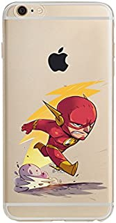 DC Comic's Superman, The Flash, Aquaman, Batman, Wonder Woman, Green Lantern, The Joker, Harley Quinn Jelly Clear Case for Apple iPhone 7/8 (The Flash)