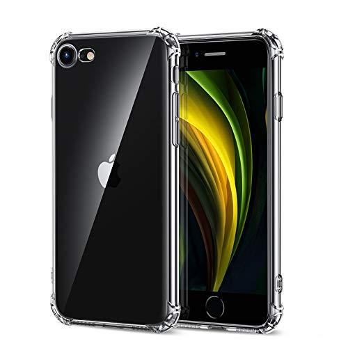 EONO by Amazon, Cover per iPhone SE 2020, Cover per iPhone 8/iPhone 7 in Poliuretano Resistente all'Ingiallimento [1.1 mm di Spessore] [Angoli Anti Urto] Cover in Silicone Flessibile, Trasparente
