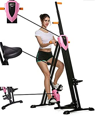 Mauccau Folding Exercise Step Machine & Indoor Vertical Climber - Home Gym, Total Body Workout Vertical Climber Machine,Training Hip Grips Legs Arms Abs Calf