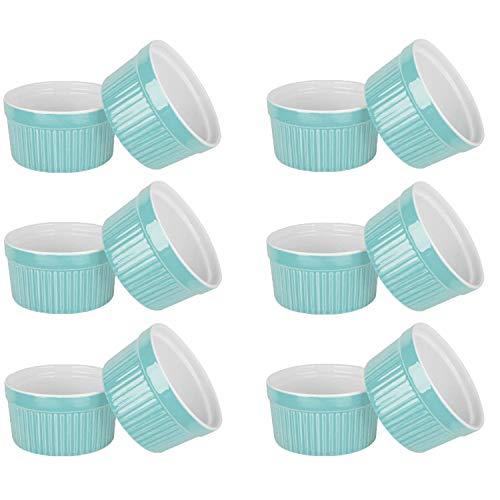 VIVILINEN 12 x Moldes para Soufflé - Cuencos de Cerámica Creme Brulee Moldes a Prueba de Horno Moldes de Tazón de Postre y Paté para, por Ejemplo, Aleta de Ragú, 205 ml Cada Uno (Azul)