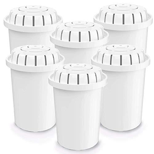 PH001+ | Alkalischer Wasserfilter | 6 Ersatzfilter | Ionisierte Wasserfilterkartusche – für Kanne, Krug, Ionisator, Luftreiniger, 360 Liter Kapazität | Erhöht den pH-Wert des Wassers (6er-Pack).
