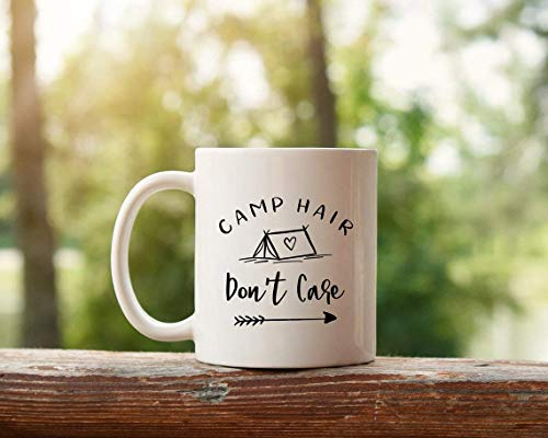 Taza de café Taza de campamento Hair Don 'T Care Taza de camping Tienda de campaña Regalo de camping Taza de campista Taza Wanderlust Taza de viaje Taza de café Taza de cerámica Regalo para ella Taza