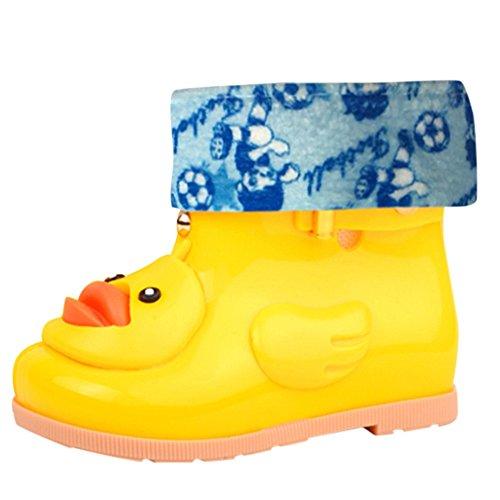 Regenlaarzen Kinderen Baby, Cartoon Eend Ontwerp Anti-Slip Rubber PVC Waterdichte Laarzen Leuke Geel Eend Schoenen Wellies voor 1-7 Jaar Baby