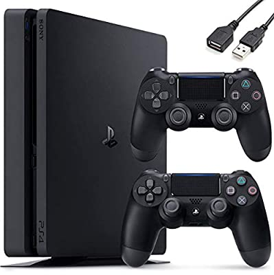 Sony PlayStation 4 PS4 1TB Slim Gaming Console - Extra Controller Holiday Bundle + Delca USB Extension by Sony