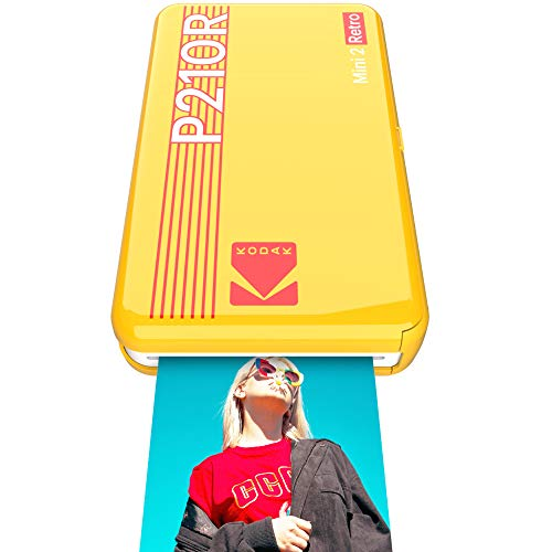 Kodak Mini 2 Retro mobiler Fotodrucker, Kompatibel mit Smartphone (iOS & Android, Bluetooth), 54x86 mm, 4Pass-Technologie-Laminierung, 8 Blatt - Gelb