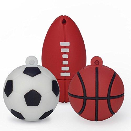 LEIZHAN Memoria USB 16G USB Flash Drive 2.0 Silicona Forma de Bola Baloncesto Fútbol Rugby