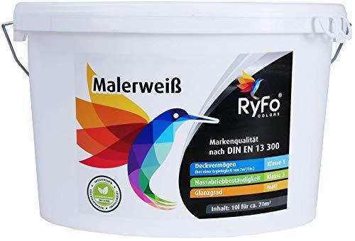 RyFo Colors Malerweiß 10l (Größe wählbar) - Wandfarbe weiß, hohe Deckkraft, Premium-Innen-Farbe, airless verarbeitbar, Deckkraft Klasse 1