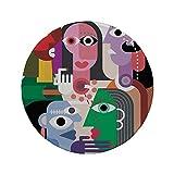 Rutschfreies Gummi-rundes Mauspad Kunst Frauen mit Emotionen Moderne abstrakte bunte Gemälde Stil Spaß Formen Design Druck dekorativ mehrfarbig 7.9'x7.9'x3MM