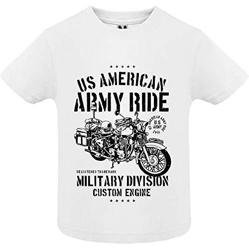 LookMyKase T-Shirt - Army Ride - Bébé Garçon - Blanc - 6mois
