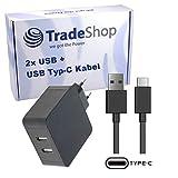Trade-Shop Dual USB-C 5V 2,4A Schnellladegerät Netzteil Ladekabel Datenkabel USB 3.1 Typ-C Schwarz (2 Anschlüsse) für Shift Shift6m TP-LINK Neffos N1 Xiaomi Mi A1 Mi Max 2 Xiaomi Mi Max 3 Mi Mix 2