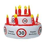 Aufblasbare Geburtstagstorte '30', kann auch als Hut genutzt werden